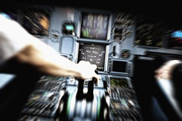 Artistic depiction of a pilot applying full thrust during an emergency situation